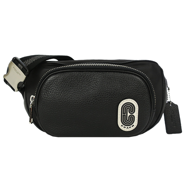 COACH ใหม่ Big C โลโก้กระเป๋ากระเป๋าเข็มขัดหนังธรรมดา (สีดำ)