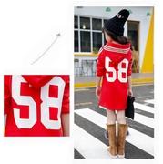 เสื้อกันหนาวตัวยาวมีฮู้ดลายHI สีแดง