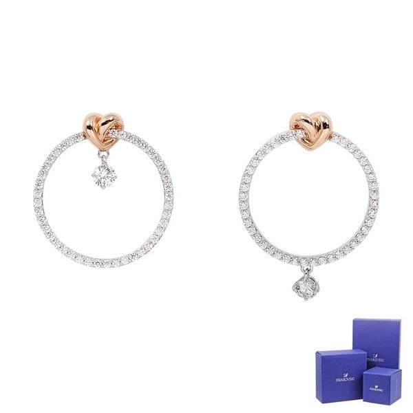 (swarovski)SWAROVSKI Swarovski LIFELONG HEART bright crystal ring love twisted shape earrings