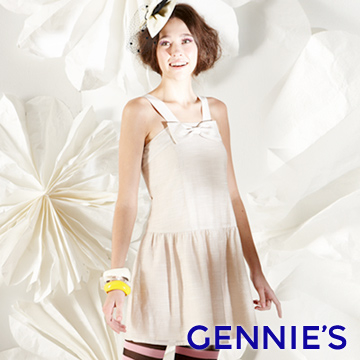 (gennies)Gennies Chini cute bow spring and summer sleeveless dress (G1128)