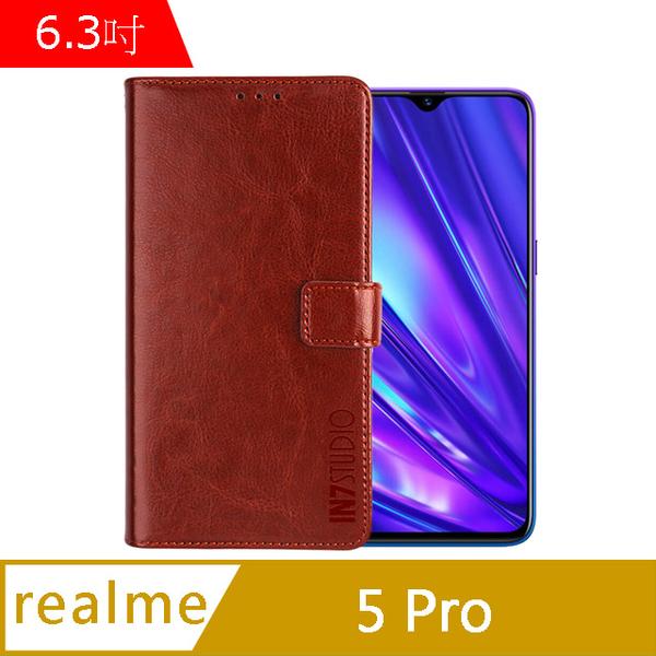 IN7 瘋馬紋 realme 5 Pro (6.3吋) 錢包式 磁扣側掀PU皮套 吊飾孔 手機皮套保護殼-棕色