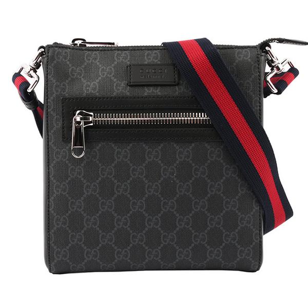 GUCCI GG Supreme PVC กระเป๋าซิปสี่เหลี่ยมข้ามร่างกาย (เล็ก) (สีดำและสีเทา) 523599 K5RLN 1095