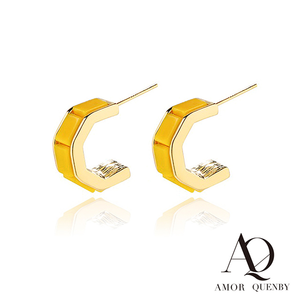 (Quenby)AQ 925 Sterling Silver Non-Fever Classic Yellow Earrings/Ear Pins (AMOR Quenby)