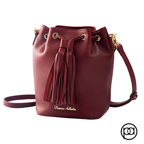 (Premium Authentic)[PA leather boutique] Mini bucket dual-use bag (Burgundy wine red)