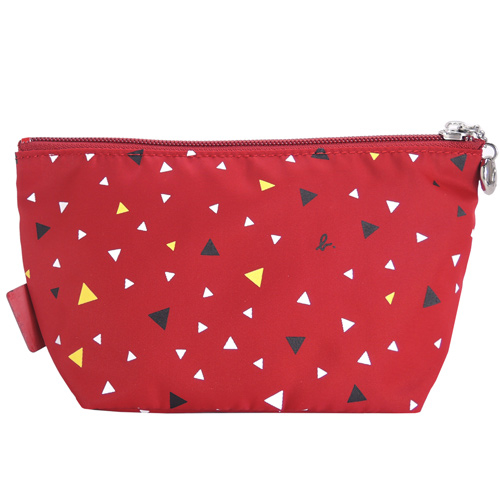 agnes b. กระเป๋าเครื่องสำอางทรงป๊อปทรงสามเหลี่ยม (สีแดง)
