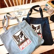 Huahua Club-Limited. Purr World-weary cat ยีนส์สีฟ้าบุคลิกของเกาหลีและกระเป๋าเป้สะพายข้างมีสองสี [H6673]