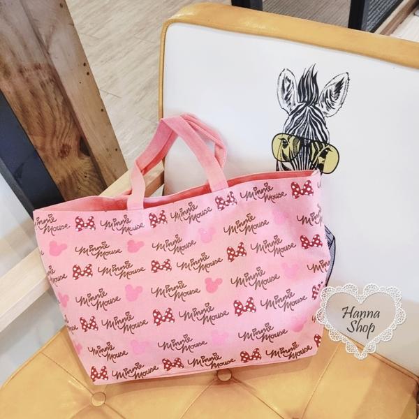 Huahua Club-Outflow. นิตยสารการ์ตูนญี่ปุ่น Disney Minnie สีชมพูน่ารักรุ่นหนากระเป๋าโท้ทขนาดใหญ่ [H6704]