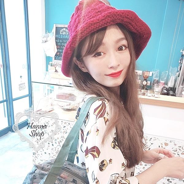 Huahua Club-Outflow. หมวกชาวประมงถักแบบทวิสระบบอุ่นแบบเรียบง่ายของเกาหลีมีสามสี [H6708]
