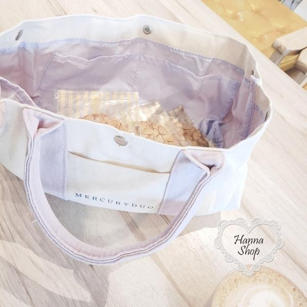 Huahua Club-Outflow. กระเป๋าถือสไตล์ปิกนิกแบบเรียบง่าย MERCURY สีชมพูและสีม่วง【 H6701 】