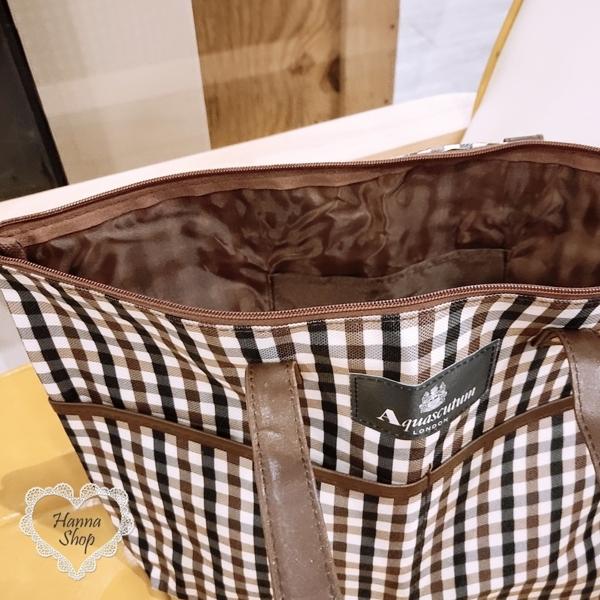 Huahua Club- ภาคผนวก. กระเป๋าถือหนังด้านหลังเย็บลายสก็อตอังกฤษ [H6742]