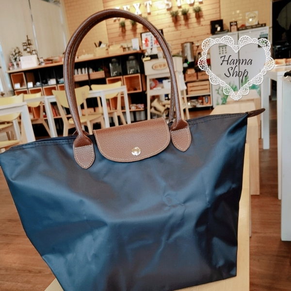 Huahua Club จากฝรั่งเศส กระเป๋าพับไนลอนคลาสสิกหูยาวแบรนด์ L กันน้ำเรียบง่ายเนื้อซิปถุงเกี๊ยว [H6793]