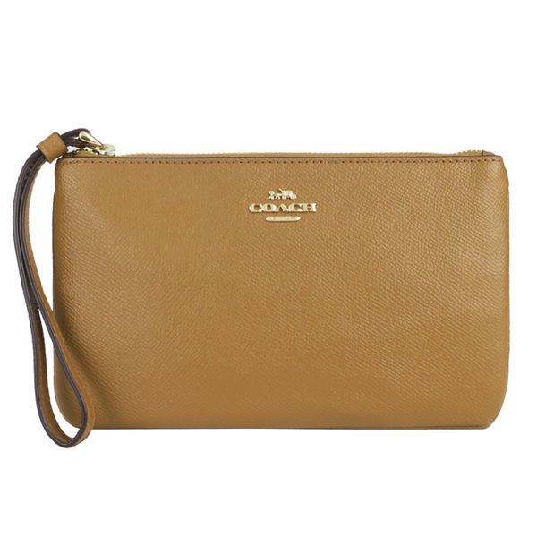 COACH Carriage Plain Anti-scratch Leather Clutch (Medium / Caramel Brown)