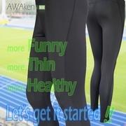 กางเกงสกินนี่ผู้หญิงมัลติฟังก์ชั่นเย็บสีดำ