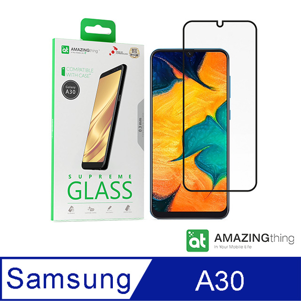 AMAZINGthing 三星 Galaxy A30 滿版強化玻璃保護貼