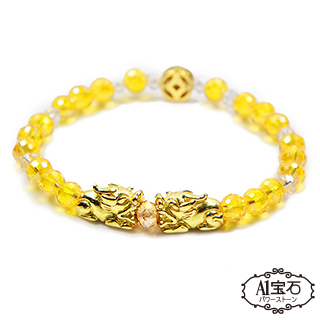 [A1 Gem] Money Gun Money Double Pixiu-Citrine Glazed Agate Bracelet-Powerful Lucky Peach Blossom Prosperity (Including Medal Blessing)