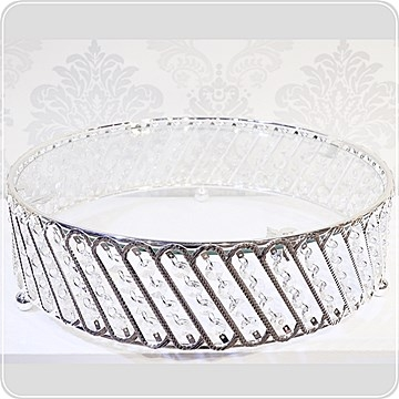 Zinc Alloy Series-Cylindrical Shelf with Crystal Glass Surface*-37cm Diameter [Athena Furnishings]