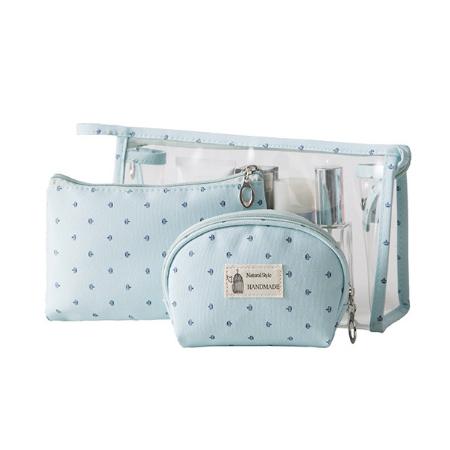 Travel portable three-piece cosmetic bag-blue (free hand spray fan)