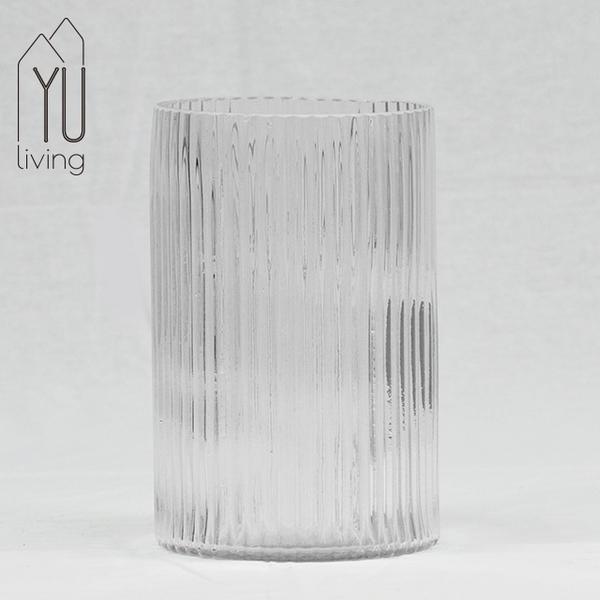 透明柱型寬口玻璃花瓶/花器-24CM