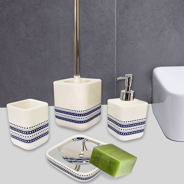 [Happy Yangyi] Nordic style ceramic bathroom four-piece set (mouthwash cup/lotion bottle/soap tray/toilet brush set)