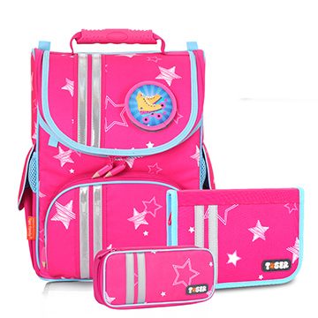(tigerfamily)Tiger Family Little Noble Super Lightweight Backpack Backpack-Pink Star (Free Stationery Bag + Pencil Case)