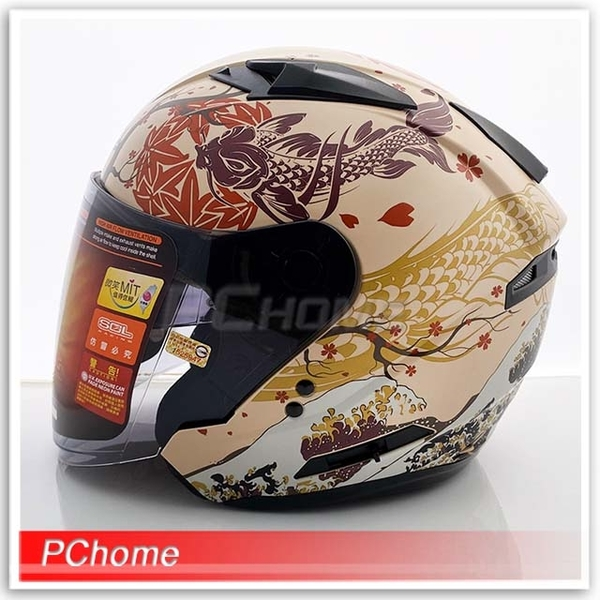 (SOL)[SOL SO7E SO-7E Ukiyoe Matte Beige/Red Safety Helmet] Double-layer lens, lens extension version