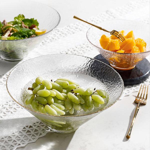 【Homely Zakka】日式簡約手工錘目紋玻璃沙拉碗/甜品碗2入/組(大+小)