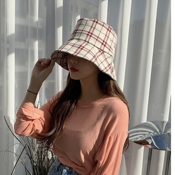 [HUAYUE] Korean double-faced checkered fisherman hat