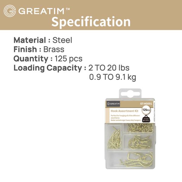 [GREATIM]ชุดขอแขวนเหล็ก/ทองเหลือง 125 ชิ้น สำหรับงานตกแต่งบ้านหรือสำนักงาน