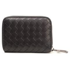 [CUMAR]กระเป๋าใส่การ์ดหนังแกะสาน สีดำ