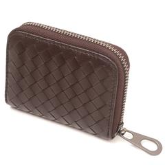 [CUMAR]กระเป๋าใส่การ์ดหนังแกะสาน สีกาแฟ