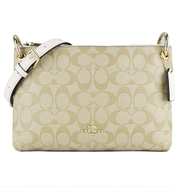COACH Carriage C LOGO PVC Leather Double Zipper Crossbody Bag (Khaki)