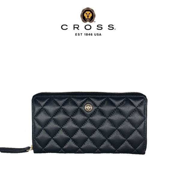 (cross)Limited 1% off top NAPPA calfskin diamond check zipper long clip (99% new counter display black)