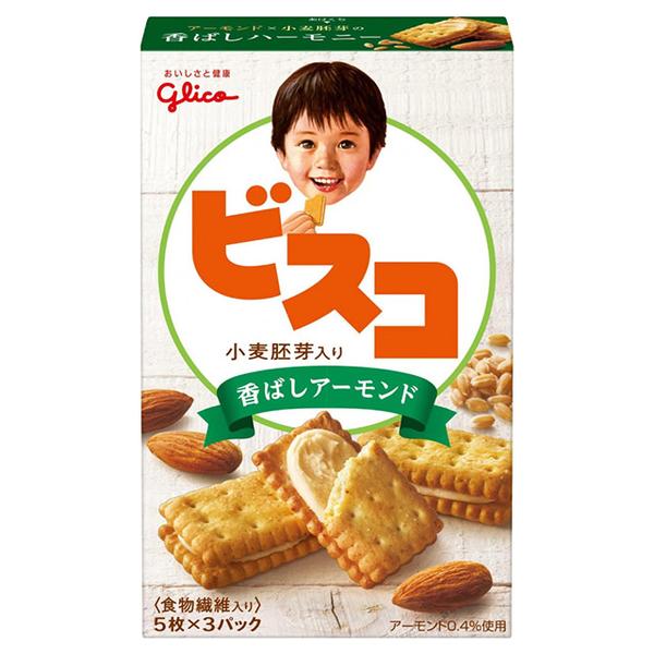 Glico - Biscuits บิสกิตแซนวิชอัลมอนด์ (67.2g)