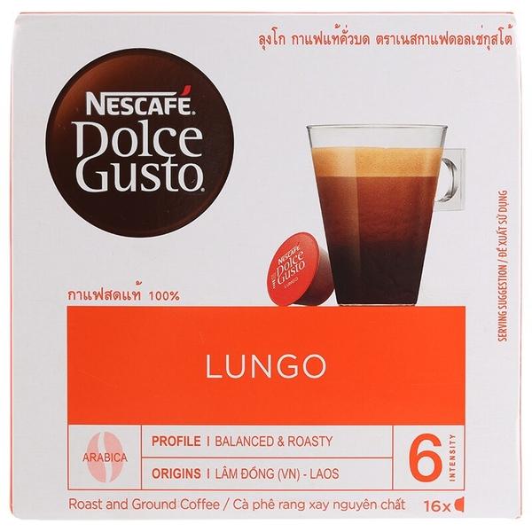 เนสกาแฟดอลเช่กุสโต้กาแฟคั่วบดลุงโก 16แคปซูล 104กรัม Nescafé Dolce Gusto Roast & Ground Coffee Lungo 16 Capsules 104g. > 2 ชิ้นถูกกว่า
