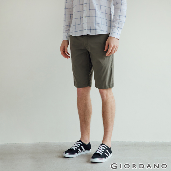 กางเกงขาสั้นผู้ชาย GIORDANO ผ้ายืดแห้งเร็ว -50 Grape Leaf Green
