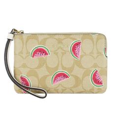 COACH Hot Stamping Carriage Colorful Watermelon Print L Zipper Clutch (Khaki)