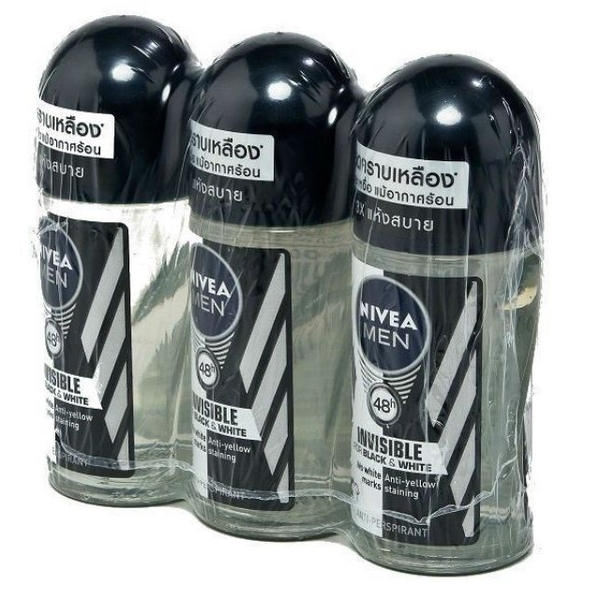 Nivea  Roll-on Black&White นีเวีย แบล็คแอนด์ไวท์ โรลออน ขนาด 50ml/ขวด แพ็คละ3ขวด