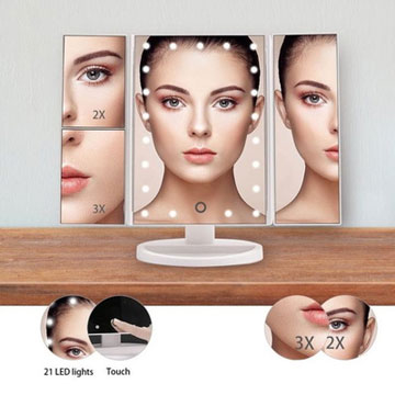 กระจกแต่งหน้า LED สุดหรู, กระจกเก็บของสามในหนึ่งเดียว, กระจกสามด้านตั้งโต๊ะ, กระจกแต่งหน้าพับได้, แว่นขยาย 2x 3x