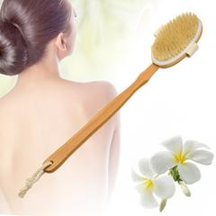 [Happy Yangyi] แปรงอาบน้ำนวดด้ามยาวแบบถอดได้พร้อมขนแปรงไม้ไผ่
