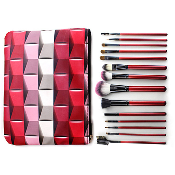 [Happy Yangyi] Professional Makeup Antibacterial Brushes Wooden Handle Makeup Brushes Mosaic Cosmetic Bag 14 Piece Set-Red