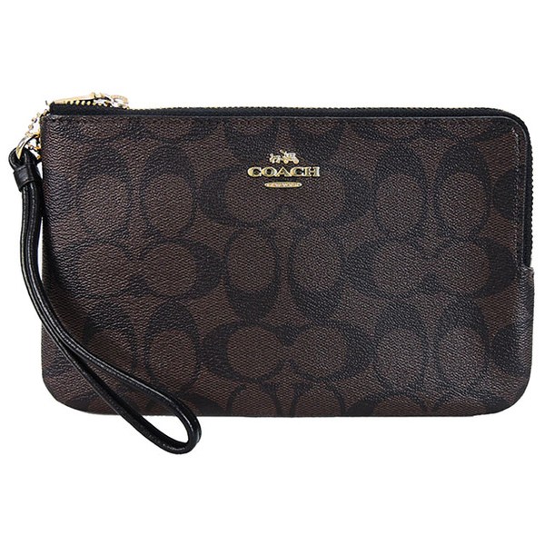 COACH LOGO Stereo Carriage Double Zipper Wide Clutch (Large / Coffee Black)