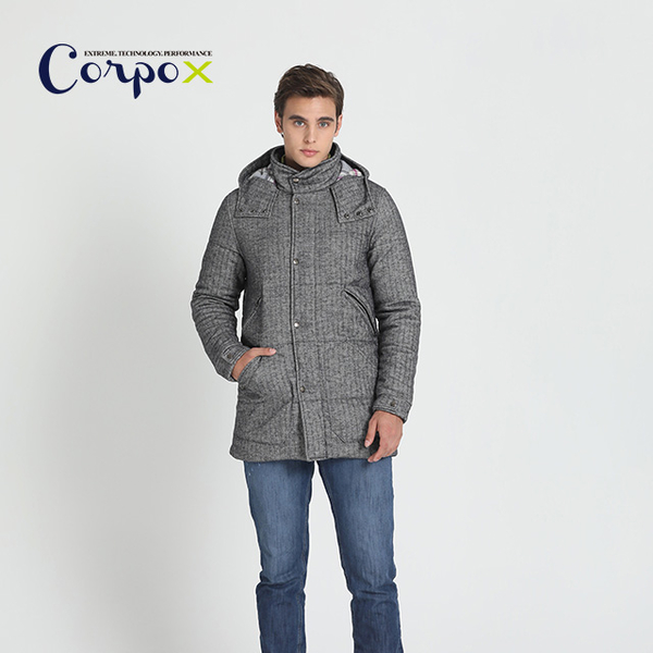 (corpo x)[Corpo X] Men's Technology Down Feather Flannel Long Coat (3M Thinsulate) - Dark Gray