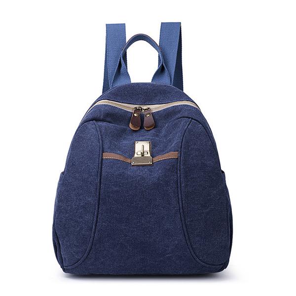 [I.Dear] กระเป๋าเป้ผ้าแคนวาสความจุขนาดใหญ่สไตล์เรโทรสำหรับผู้ชายและผู้หญิง (BG128 สีน้ำเงิน)