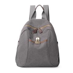 [I.Dear] กระเป๋าเป้ผ้าแคนวาสความจุขนาดใหญ่สไตล์เรโทรสำหรับผู้ชายและผู้หญิง (BG128 สีเทา)