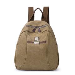 [I.Dear] กระเป๋าเป้ผ้าแคนวาสความจุขนาดใหญ่สไตล์เรโทรสำหรับผู้ชายและผู้หญิง (BG128 สีกากี)