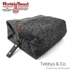 Harris Tweed Classic Check Wool Toilet Bag (Charcoal Grey Classic Herringbone)