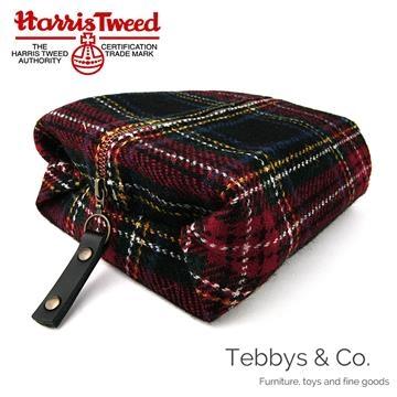 Harris Tweed Classic Check Wool Toilet Bag (Black Blue Green Royal Army Check)
