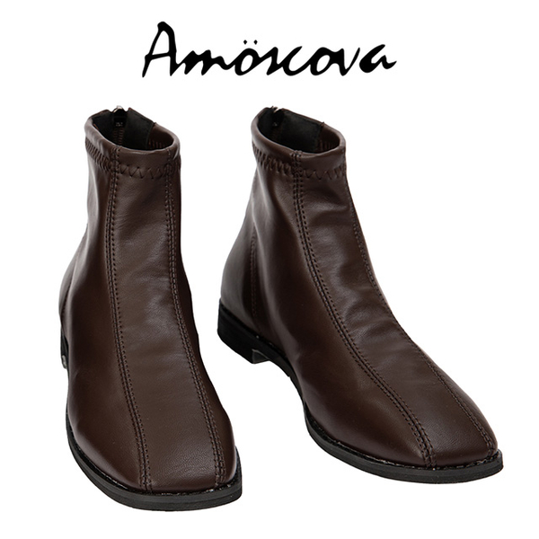 [Amoscova] Autumn and winter new plain double line shape rear pull flat short boots A01-Brown