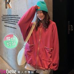 DeBelle เสื้อฮู้ดสีแดงทรงโอเวอร์ไซส์