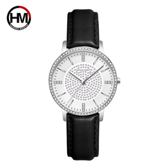 HANNAH MARTIN Fashion Bright Diamond Women's Watch-Leather Belt (HM-1074)